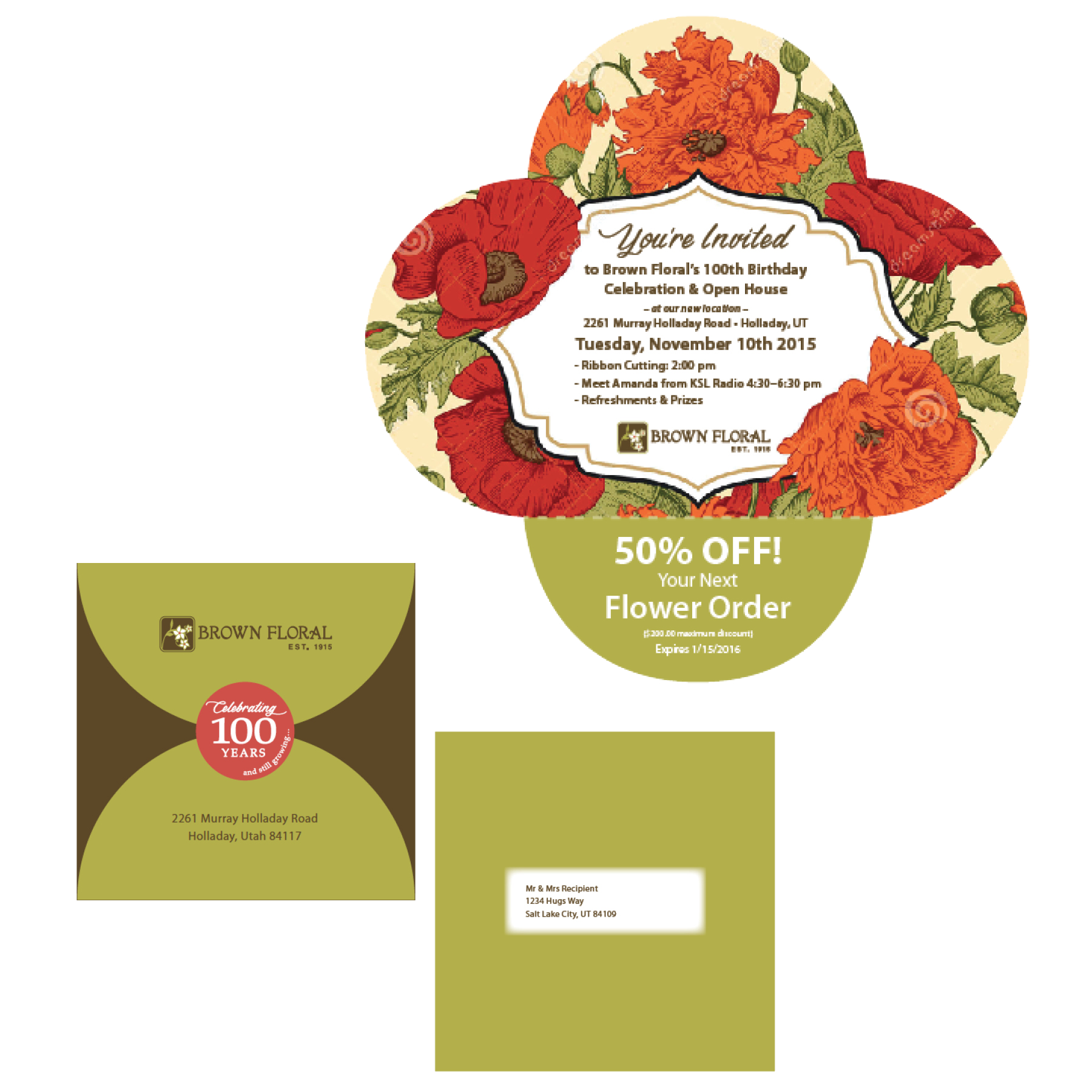 Brown Floral Self Mailer Designed by EXPAND